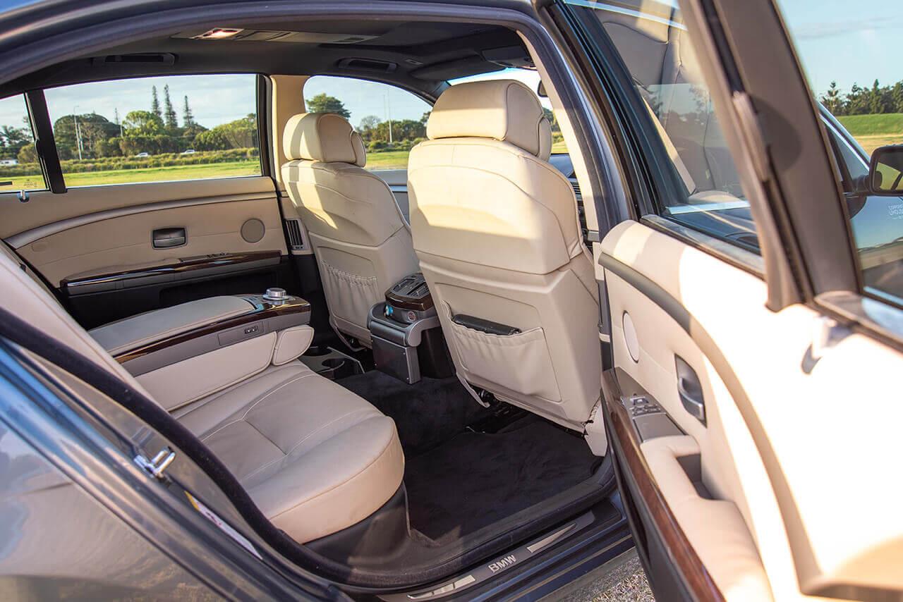 BMW 750 Li Grey rear interior shot