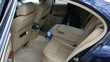 Leather interior of a Corporate Limousines car