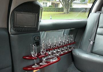 inside limo showing drinks bar brisbane $ Gold Coast